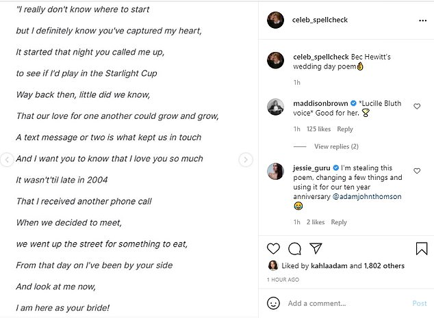 'Lyrical genius': Fans went wild over Bec's cringeworthy wedding poem, which included classic lines such as: 'Having a family with you makes me so glad / I know I'll never get sad
