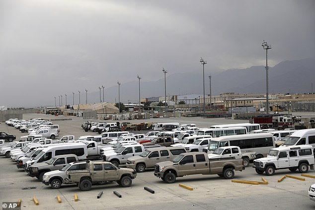 Vehicles sit on the tarmac at Bagram air base after US soldiers left the base on Monday, July 5, after more than 20 years