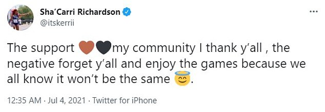On Sunday, Richardson thanked her supporters in a tweet