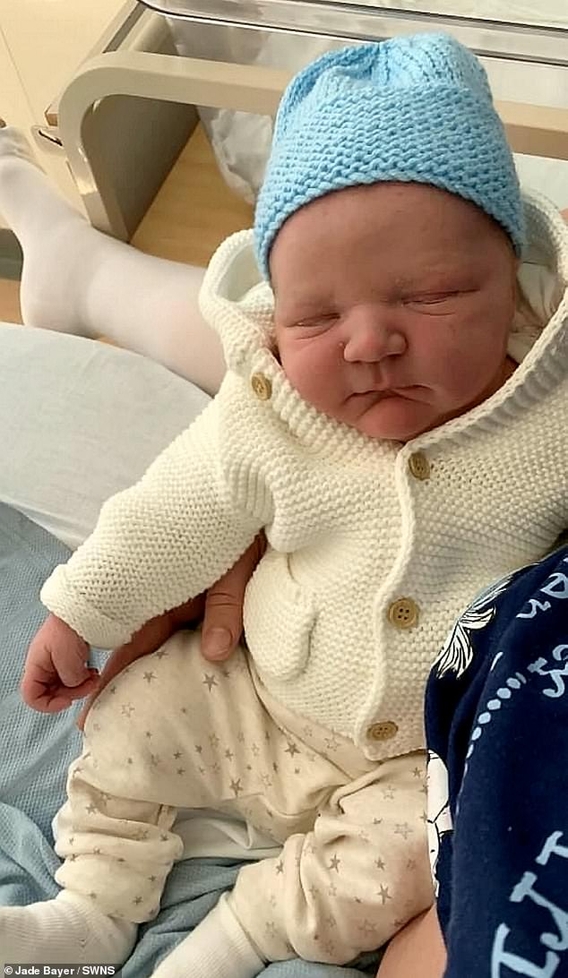 Ronny-Jay, pictured after birth.  Jade explained that her baby pump was so big during pregnancy that people thought she was expecting twins.  She was in so much pain by the end of the term that she asked to be induced