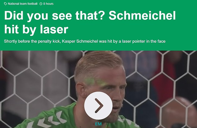 Plenty of column inches were also dedicated to the English fan who tried to blind Schmeichel with a laser, calling it a 'cowardly trick'