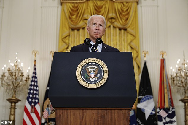 Joe Biden told reporters that the US mission in Afghanistan hasn't failed 'yet' as he spoke about troop withdrawal from the country at the White House last night