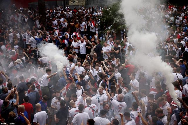 England fans with flares in Leicester Square ahead of the Three Lions' biggest match for more than half a century