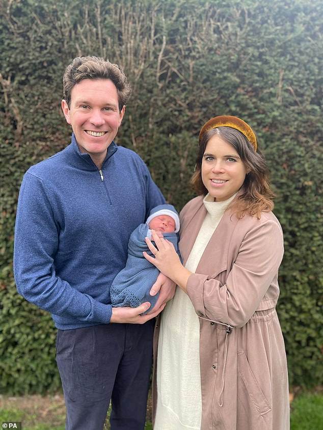 Princess Eugenie's christening for her newborn son has been 'cancelled at the last minute due to Covid scare', it has been claimed (pictured with husbandJack Brooksbank, 35, and August)