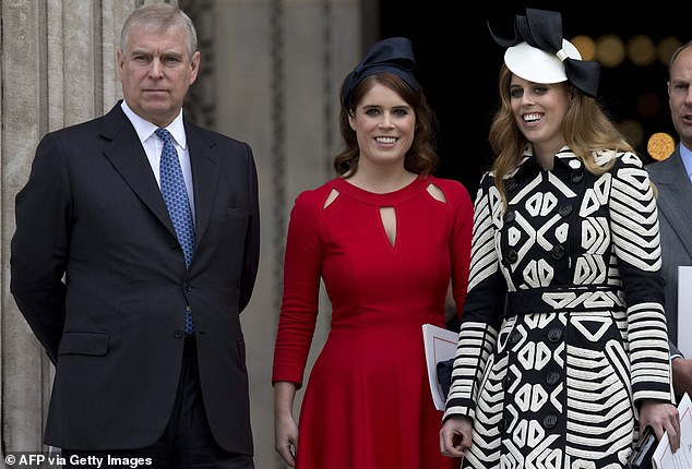 Proud grandparents Prince Andrew (pictured left) and Sarah Ferguson, who would be hosting the afterparty, were also on the guest listat Royal Lodge