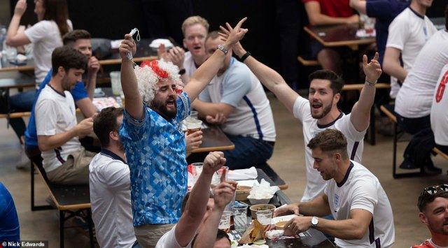 England fans are seen drinking at BOXPARK Wembley ahead of the Three Lions' Euros clash against Italy