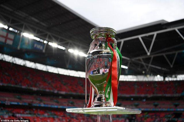 The Henri Delaunay Trophy gleams on a podium as rain falls on Wembley stadium ahead of tonight's final
