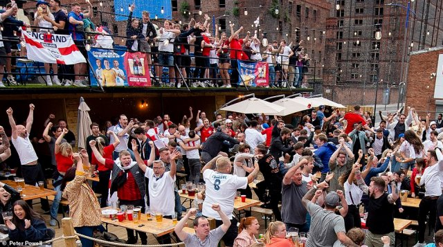 Fans in Liverpool went wild when England scored the opening goal of the Euro 2020 final against Italy