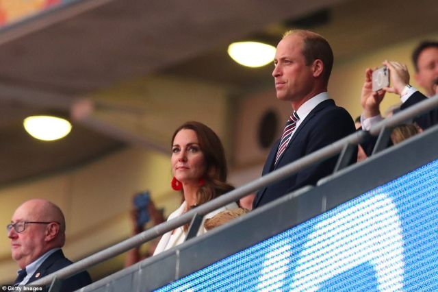 Kate Middleton and Prince William led supporters in the box at Wembley on Sunday night