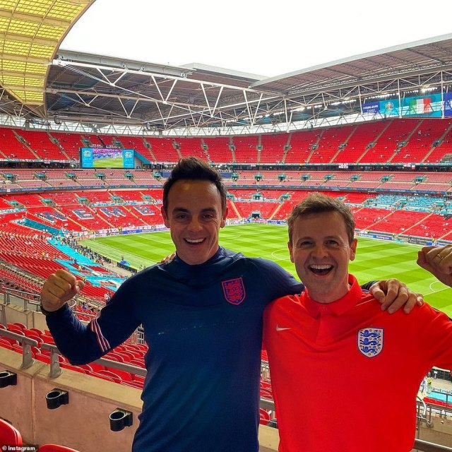 Pals: Ant and Dec posed in an empty Wembley on Saturday as they lead the stars arriving at the stadium ahead of the match
