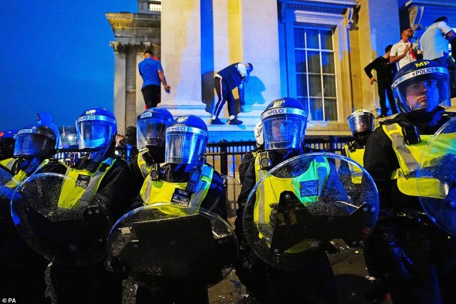 Riot police in central London as England fans get out of control