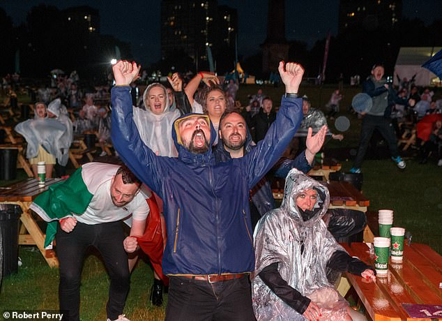 Fans at the Uefa fan park in Glasgow cheer as Italy score the equaliser in the Euro 2020 final