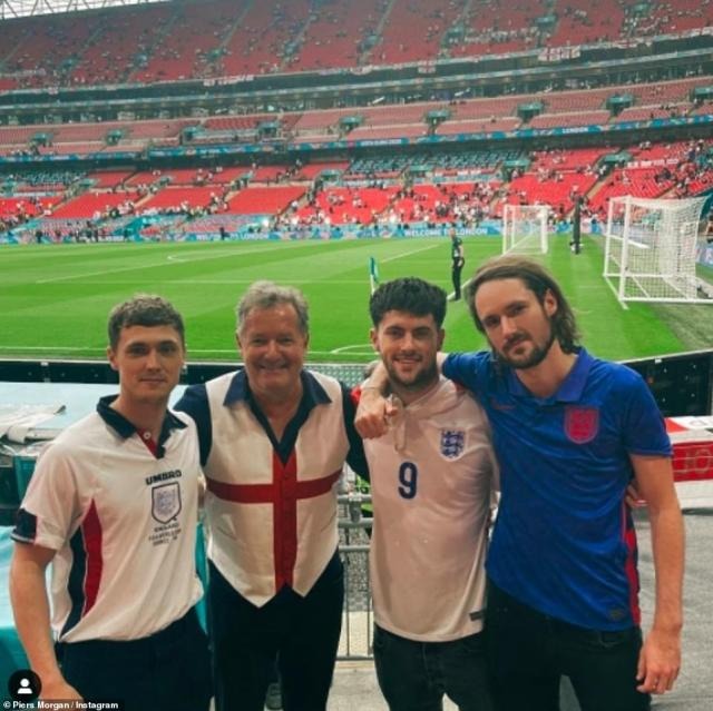 Family: Piers was at the game at Wembley with his three sonsAlbert, 20, Stanley, 23, and Spencer, 27