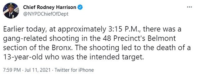 On Sunday, Chief Rodney Harrison, chief of department of the New York Police Department, tweeted that Elliot was 'the intended target' of a gang-related shooting adding: 'Gang violence is plaguing #NYC and has to stop