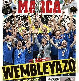 Marca in Spain also carried the Italians on their sports pages