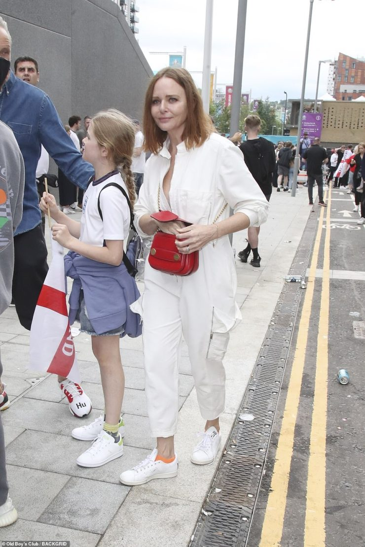 Game ready: Fashion designer Stella McCartney was sporting England colours for the match