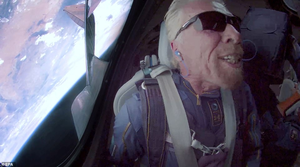 Branson delivering a message from space aboard SpaceShip Two Unity 22 during their flight after take off from Spaceport America on Sunday