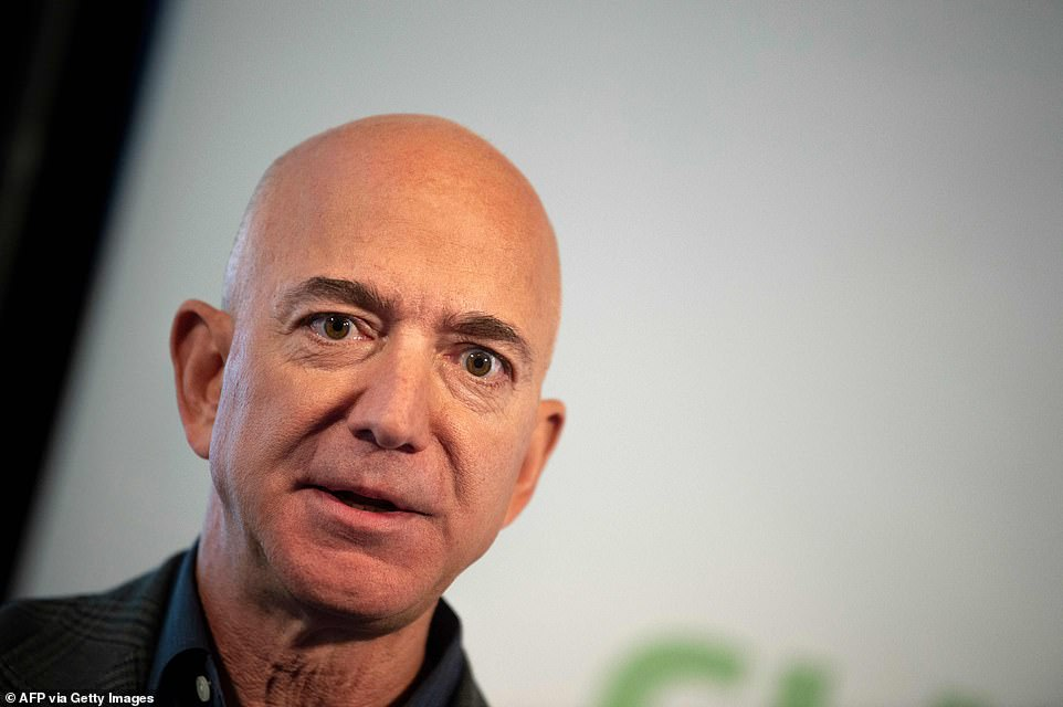 Blue Origin founder Jeff Bezos (pictured), who also founded Amazon, has an estimated personal worth of $186.2 billion (£131.5 billion)