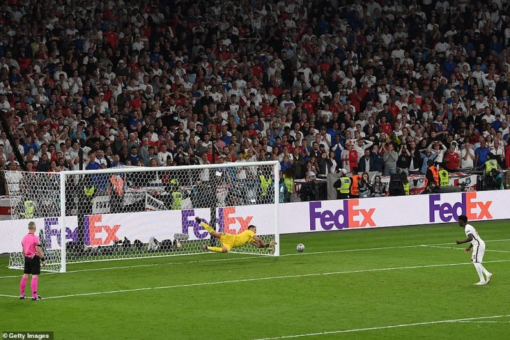 The moment of heartbreak for England as Saka's penalty is saved by Gianluigi Donnarumma