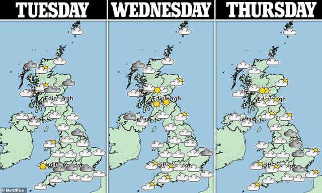The weather is set to clear as the week goes on with higher temperatures expected into the weekend
