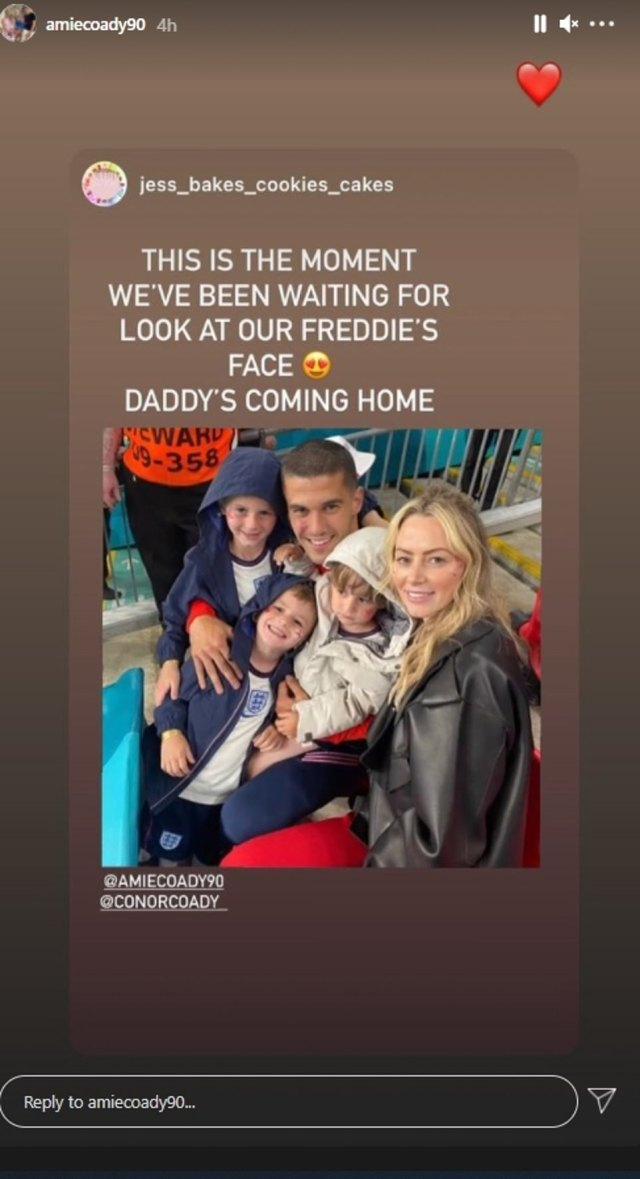 Elsewhere, Amie Coady shared a sweet snap of her husband Conor joining her and their three sons in the crowd, she captioned it 'reunited and it feels so good' before adding 'Daddy's coming home'.