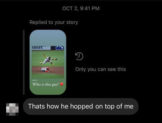 Instagram DMs obtained by DailyMail.com show Hill in October replied to a friend's story about Tatis Jr leaping over another player during a game, saying 'Thats (sic) how he hopped on top of me'