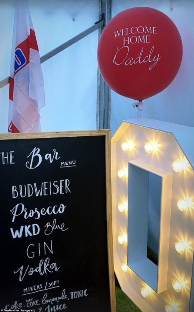 Homecoming: A number of balloons could be seen adorning the inside of the tent, with some maintaining the England colours of red and white, while others looked like large footballs