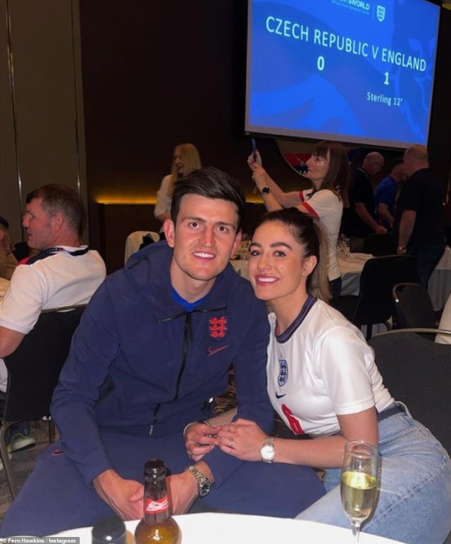 'Beyond proud': Fern previously uploaded this photo of the pair of them as she made public her pride in her husband's performance during the Euros