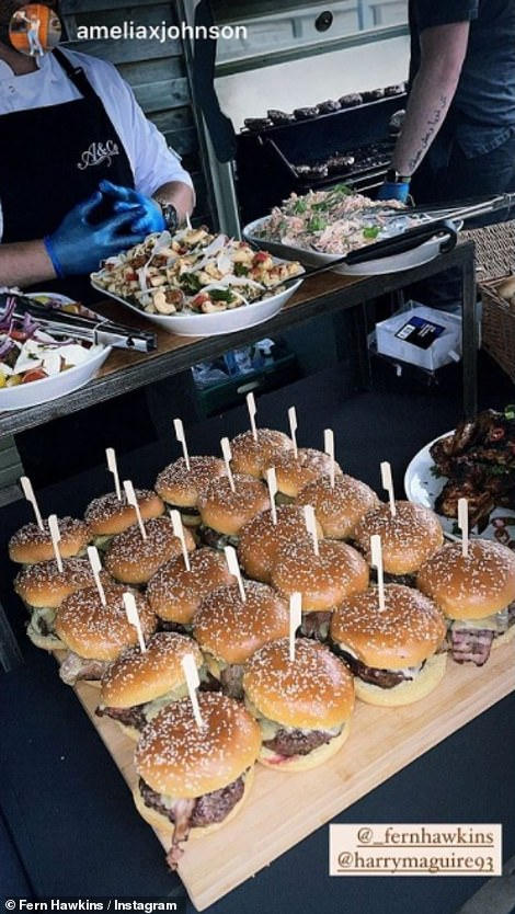 Plenty to go round: One of the pictures uploaded to Instagram showed a massive tray of burgers that had been prepared for the party