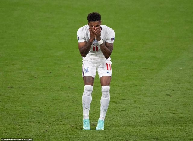 Susanna slammed the 'hideous' racist abuse Rashford (pictured) and his teammates have suffered after their penalty misses during the England Vs Italy game on Sunday