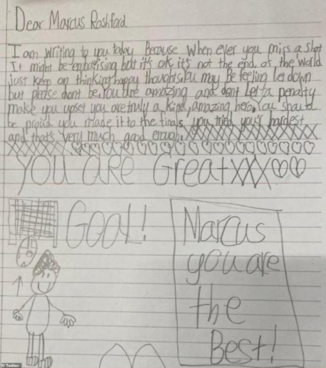 Rashford tweeted letters sent to him by children, including Dexter's, as he was told by an 11-year-old boy to be 'proud'