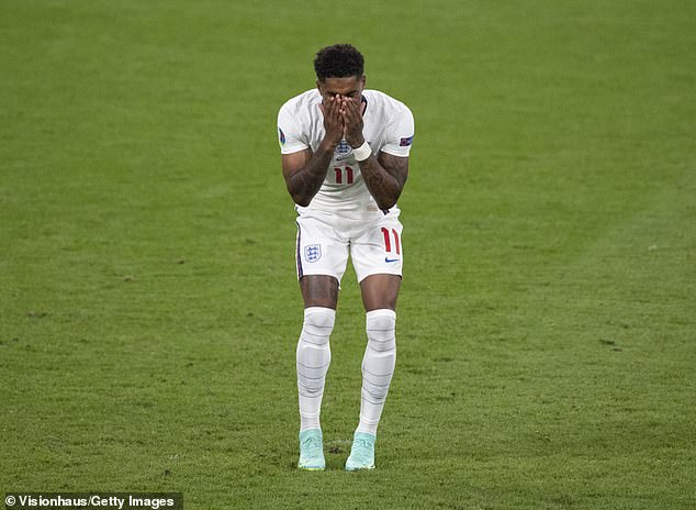 Cruel: It comes after the three England players to miss penalties in Sunday's Euro 2020 final were spammed with hideous racist abuse online (Marcus Rashford pictured)