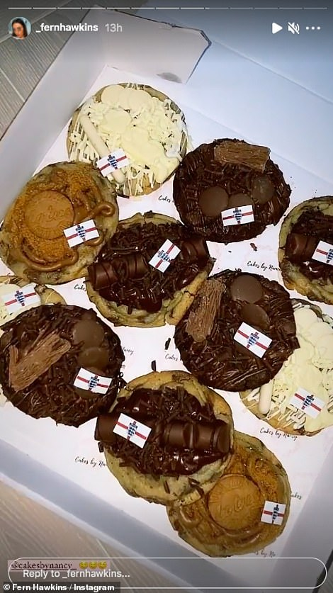 Yummy: Fern also shared snaps of some chocolate cup cakes with tiny England flags on