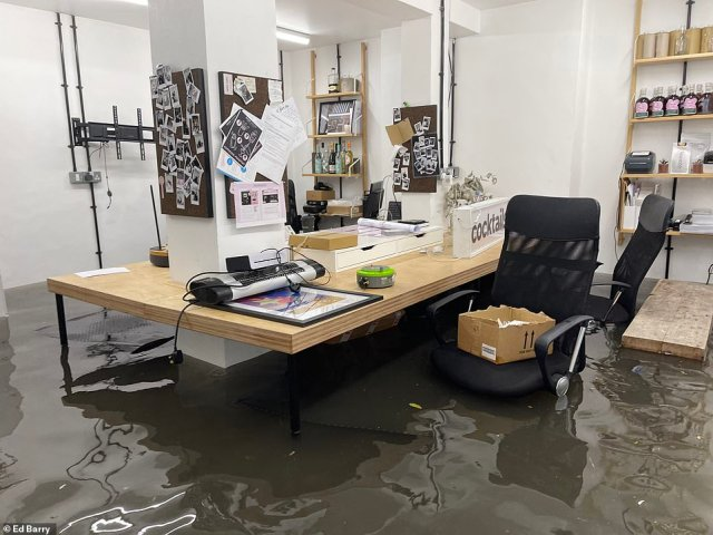 Ed Barry's Over Under Coffee office in Ladbrook Grove was submerged in water after the flash floods hit last night