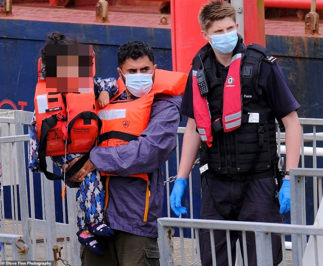 Migrants, including children and toddlers, were arrived to Dover Marina in Kent after crossing the English Channel
