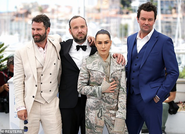 Production: The actress was joined by the film's director Valdimar Johansson (second from left) along with co-stars Hilmir Snaer Gudnason (left) and Bjorn Hlynur Haraldsson (right)