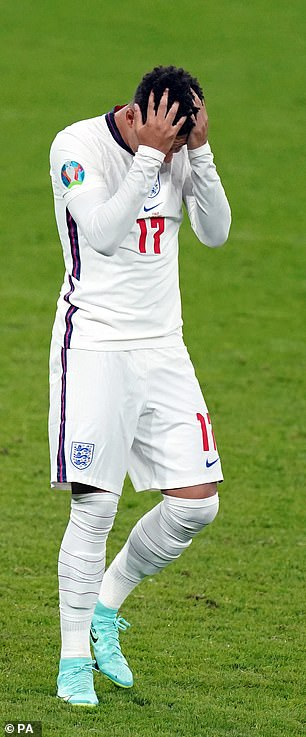 Two other black England players who missed their earlier penalties got the same treatment (Jadon Sancho, pictured)