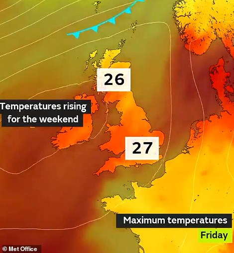 Highs of 80.6F (27C) are expected in the south of the UK by Sunday