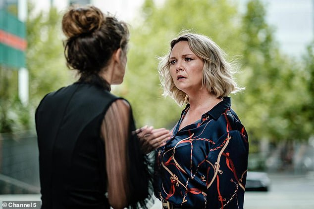 Anna (right, Charlie Brooks) confronts her husband's secretary believing she's having an affair