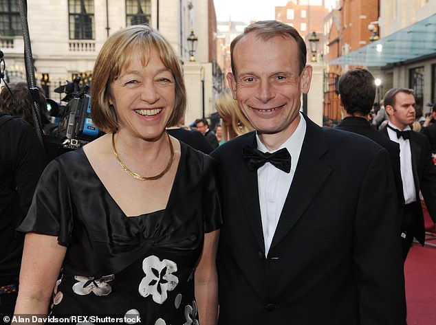 Andrew Marr was looked after by his wife Jackie (pictured together in 2009)