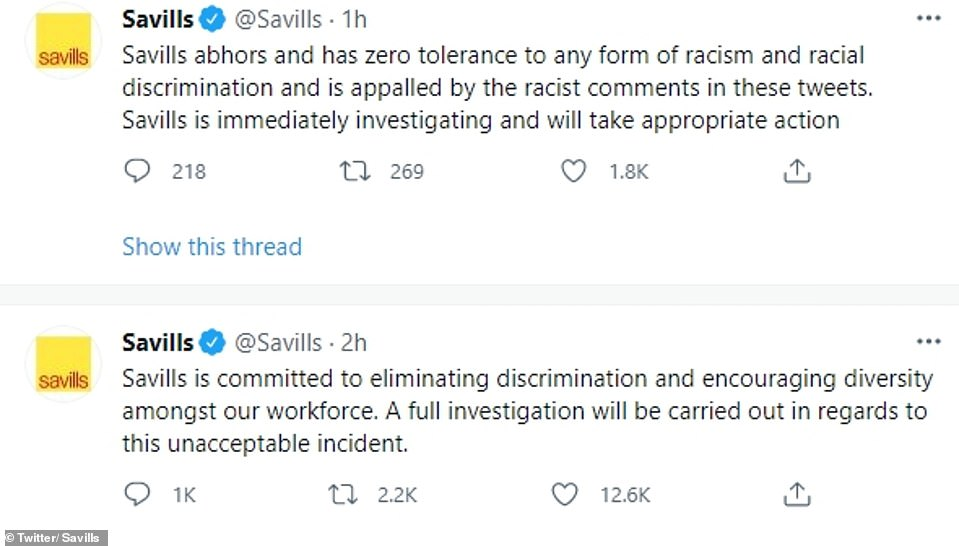 Meanwhile Savills estate agent launched an investigation after claims a member of staff had been behind one of the messages
