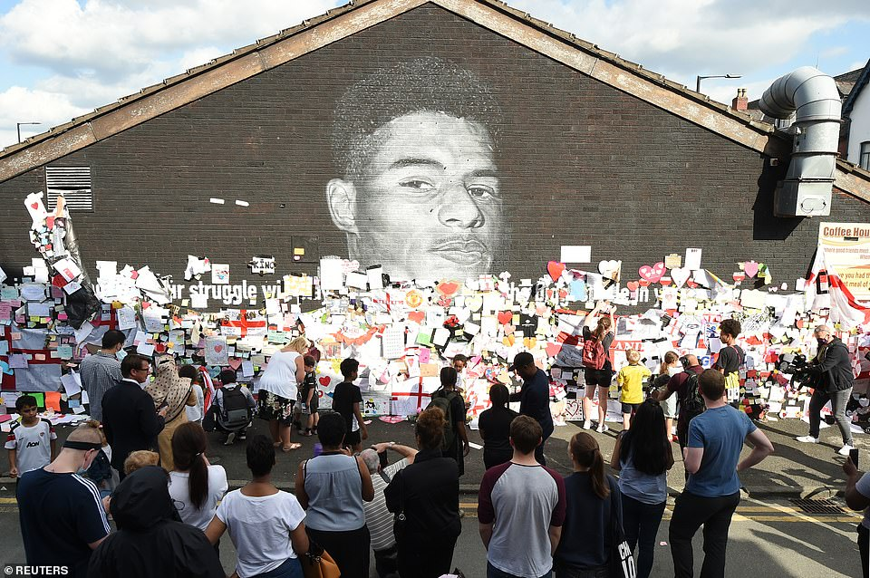 The mural has been covered with messages of support since England's defeat to Italy on Sunday night, in which Rashford missed a penalty in the shoot-out