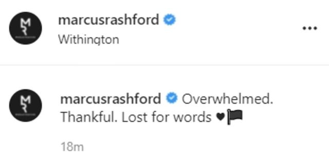 Marcus Rashford today took to Instagram to say he was 'overwhelmed' by the support, adding: 'Thank you, I'm lost for words.'