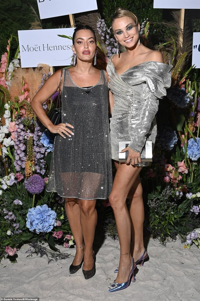 Gorgeous: Rose Bertram posed for pictures with Lebanese-British fashion entrepreneur Karen Wazen Bakhazi, styled her hair in a sleek bun with a combed over fringe section and donned a pair of exquisite pointed high heels