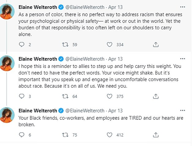 In a series of tweets on April 13, Welteroth addressed the incident within the context of race saying black women are often 'painted as villains' even after maintaining their composure and grace 'in the face of disrespect'