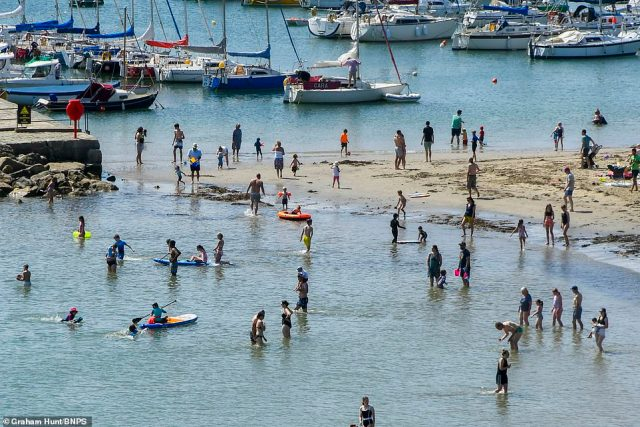 Pictured: Watersport enthusiasts soak up the sun while taking a dip at the beach resort of Lyme Regis in Dorset earlier today