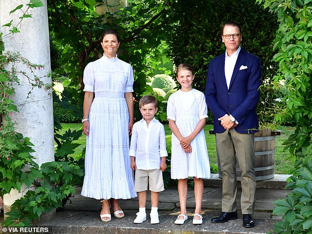 Crown Princess Victoria of Sweden looked effortlessly chic in all white when joining her family in new portraits (pictured) released to celebrate her 44th birthday