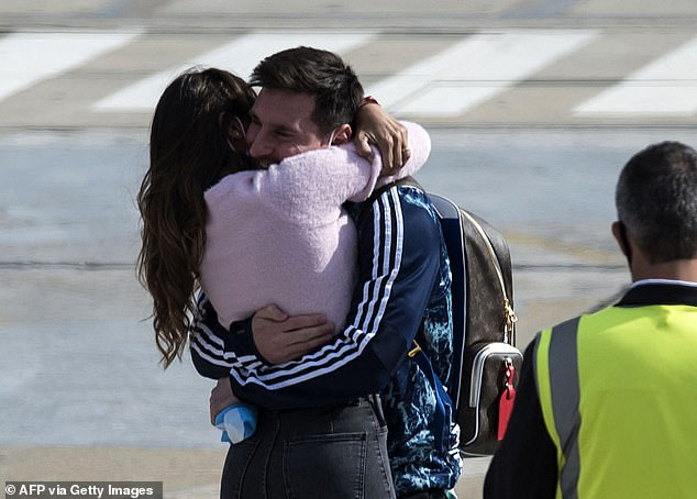 Messi was greeted by his wife, Antonella Roccuzzo, on Monday after the players returned
