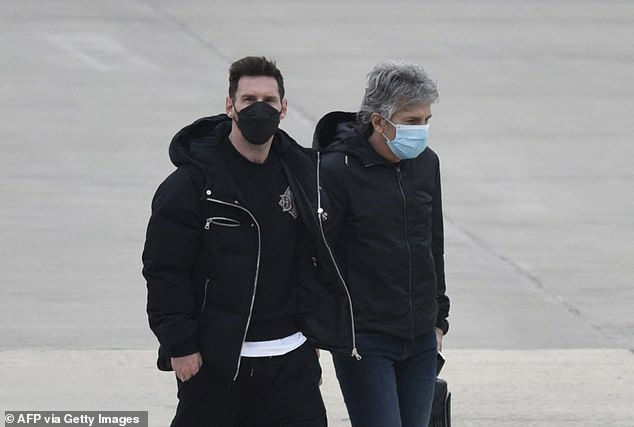 Messi, pictured with father Jorge, was set to jet off on his holidays after a long 2020-21 season