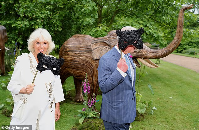 Camilla, Duchess of Cornwall and Prince Charles, Prince of Wales hold face masks as they host a reception for the Elephant Family Animal Ball at Clarence House on June 13, 2019 in London. An image from this event featured in today's auction leaflet